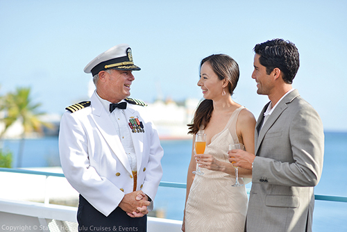Begin the evening with a private reception on the top deck