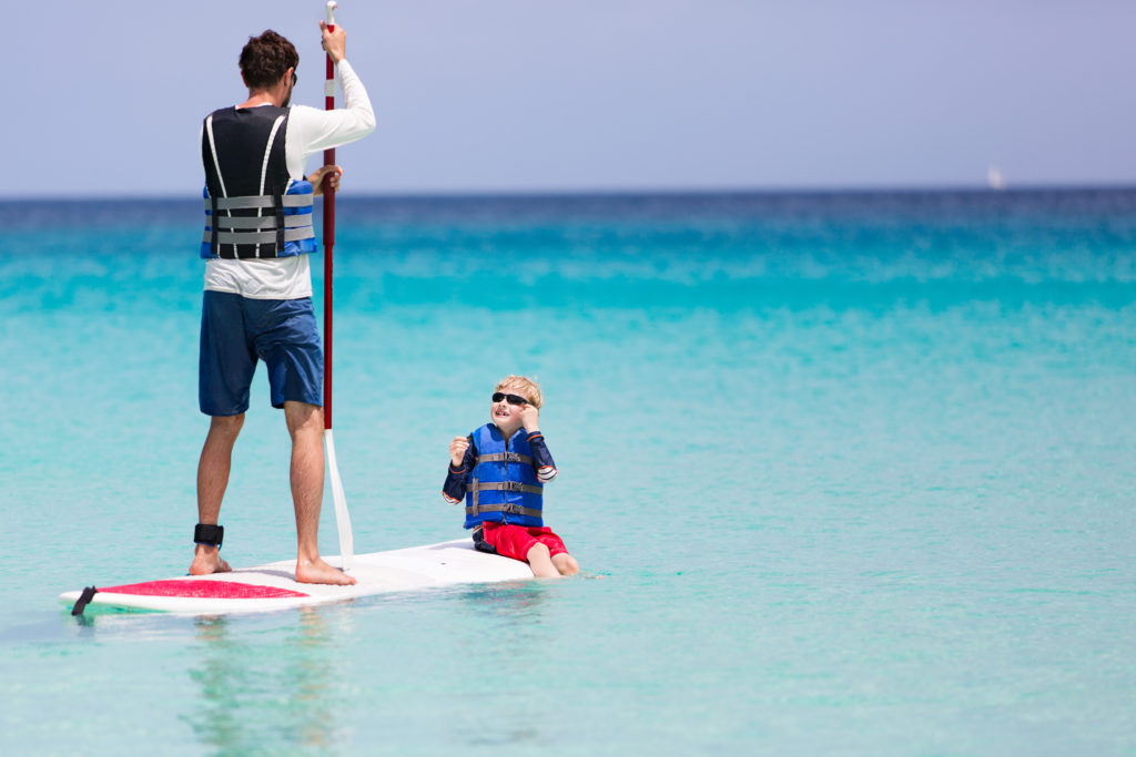 Take your kid for a ride on the stand up paddle board