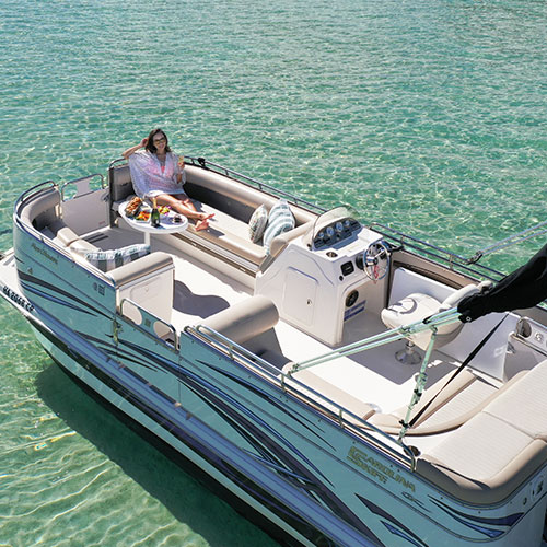 Take a ride on the deluxe pontoon in Kaneohe Bay