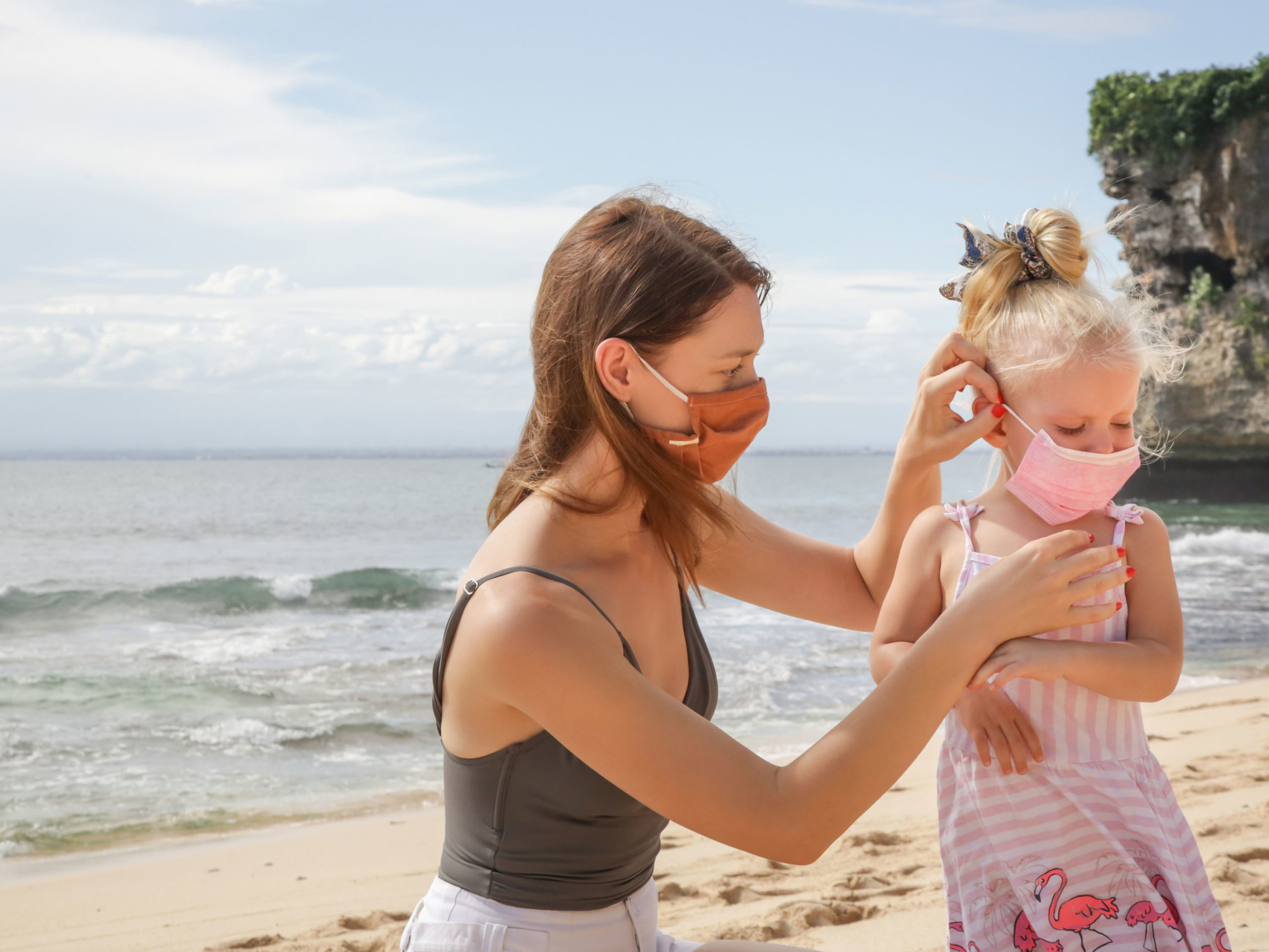 Mother and daughter masked on beach